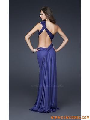 a0a5af55d04 Sexy One Shoulder Cut-Out Royal Blue Chiffon Handmade Corsage Evening Dress  2013