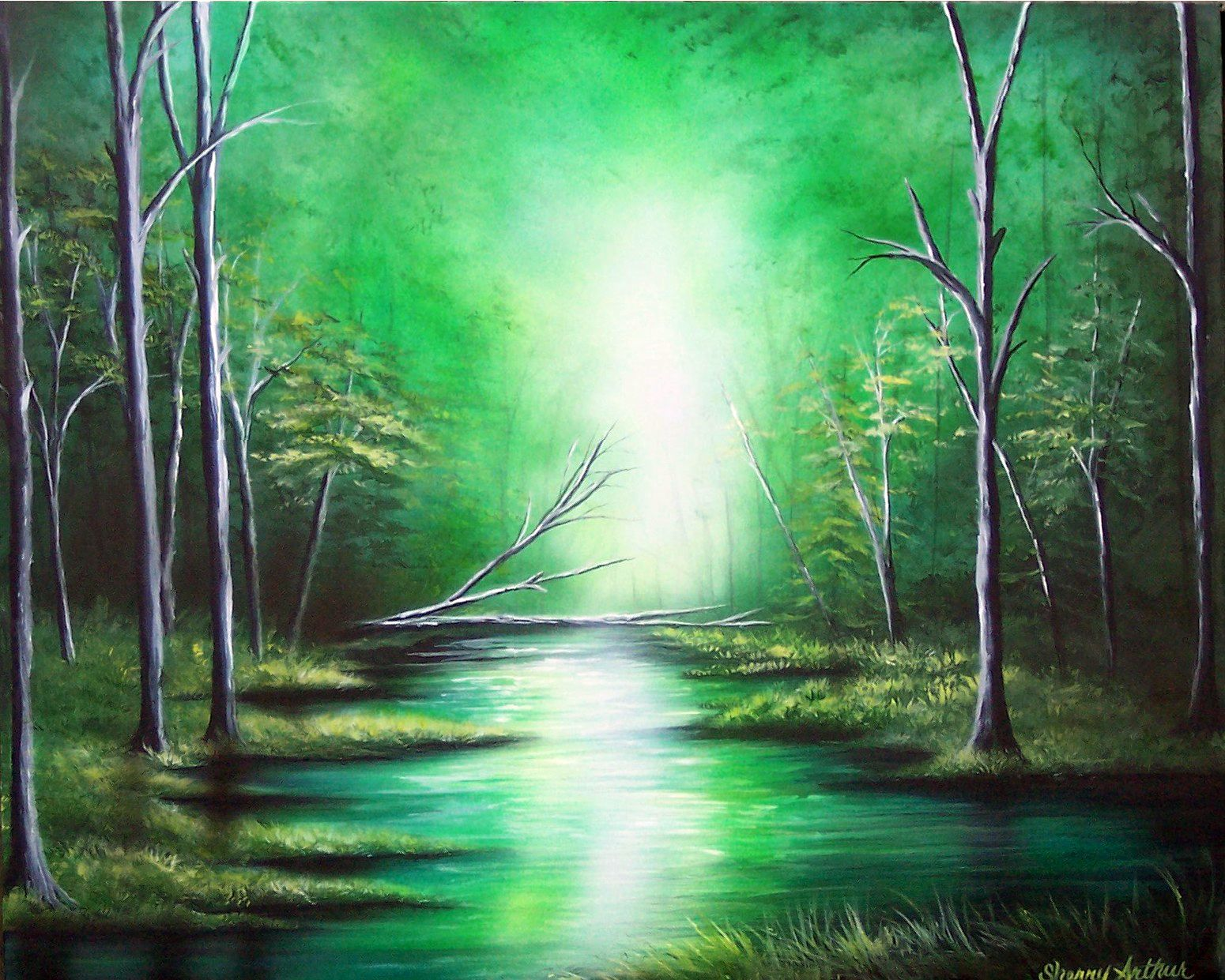 Accessories For Sale   Green Trees Forest River Original Acrylic ...