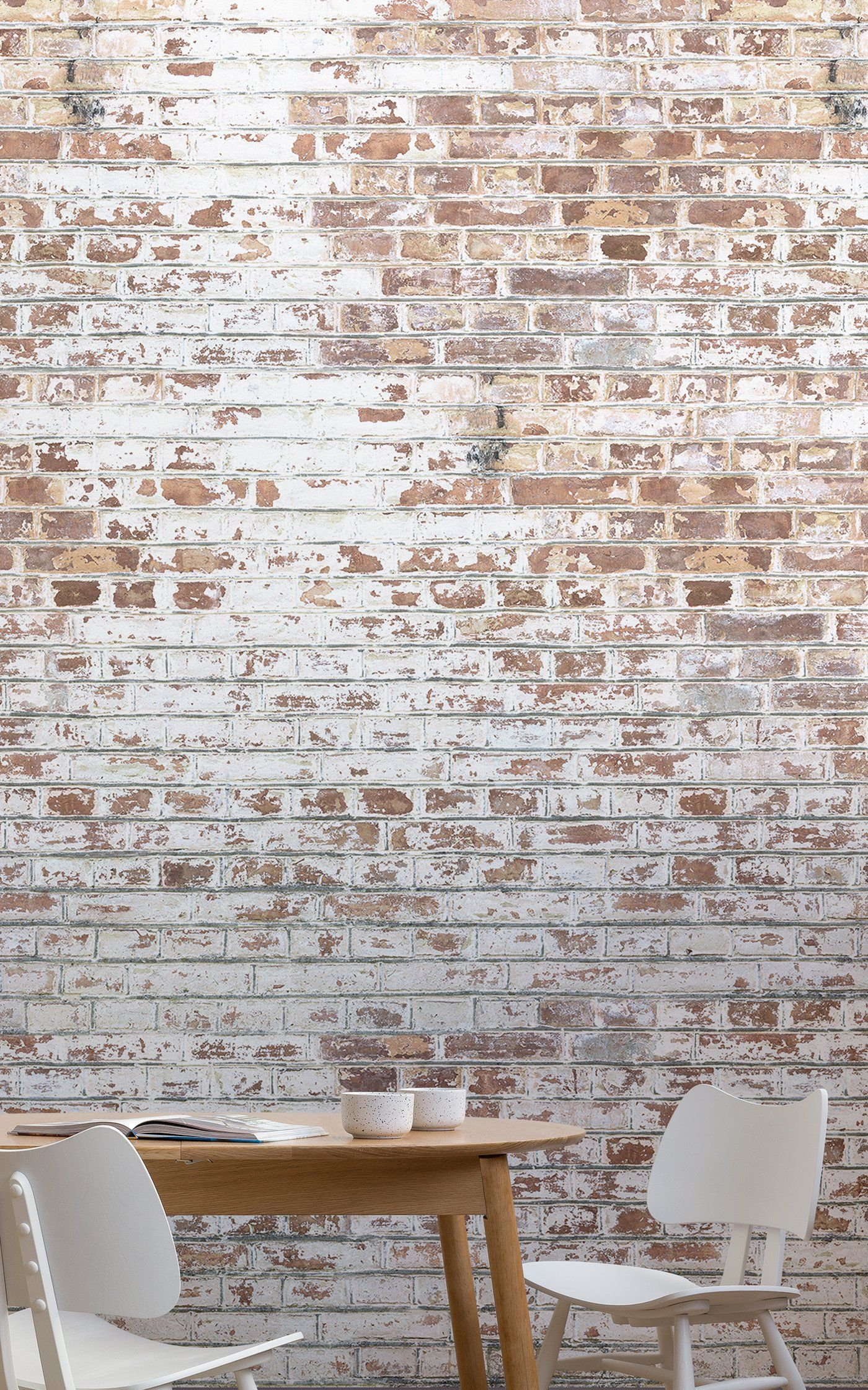 White Painted Brick Wallpaper Mural Murals Wallpaper Brick