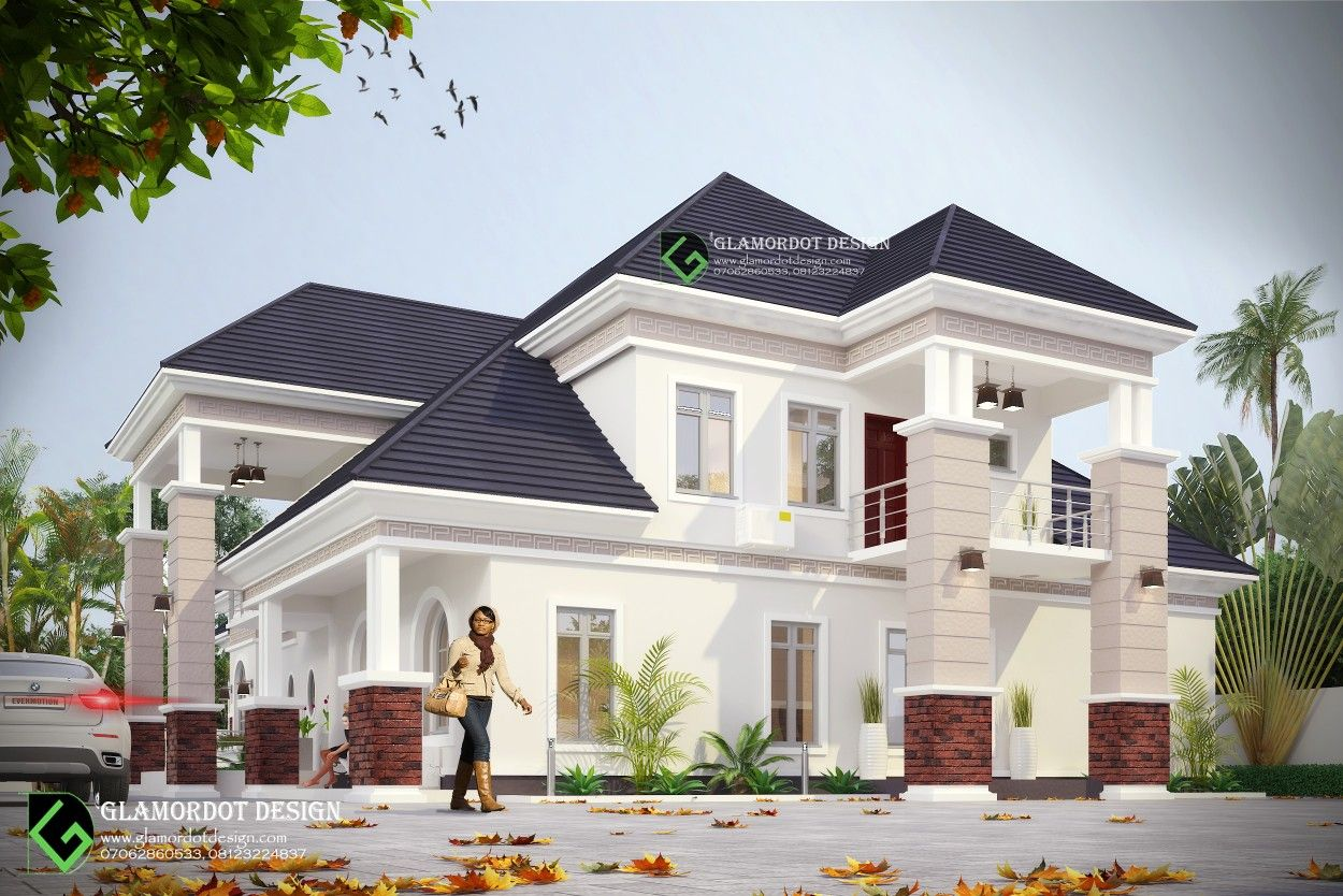 Modified Architectural Design Of A Proposed 5 Bedroom Bungalow With Pent House Abuja Four Bedroom House Plans House Plans Mansion Modern Bungalow House Plans