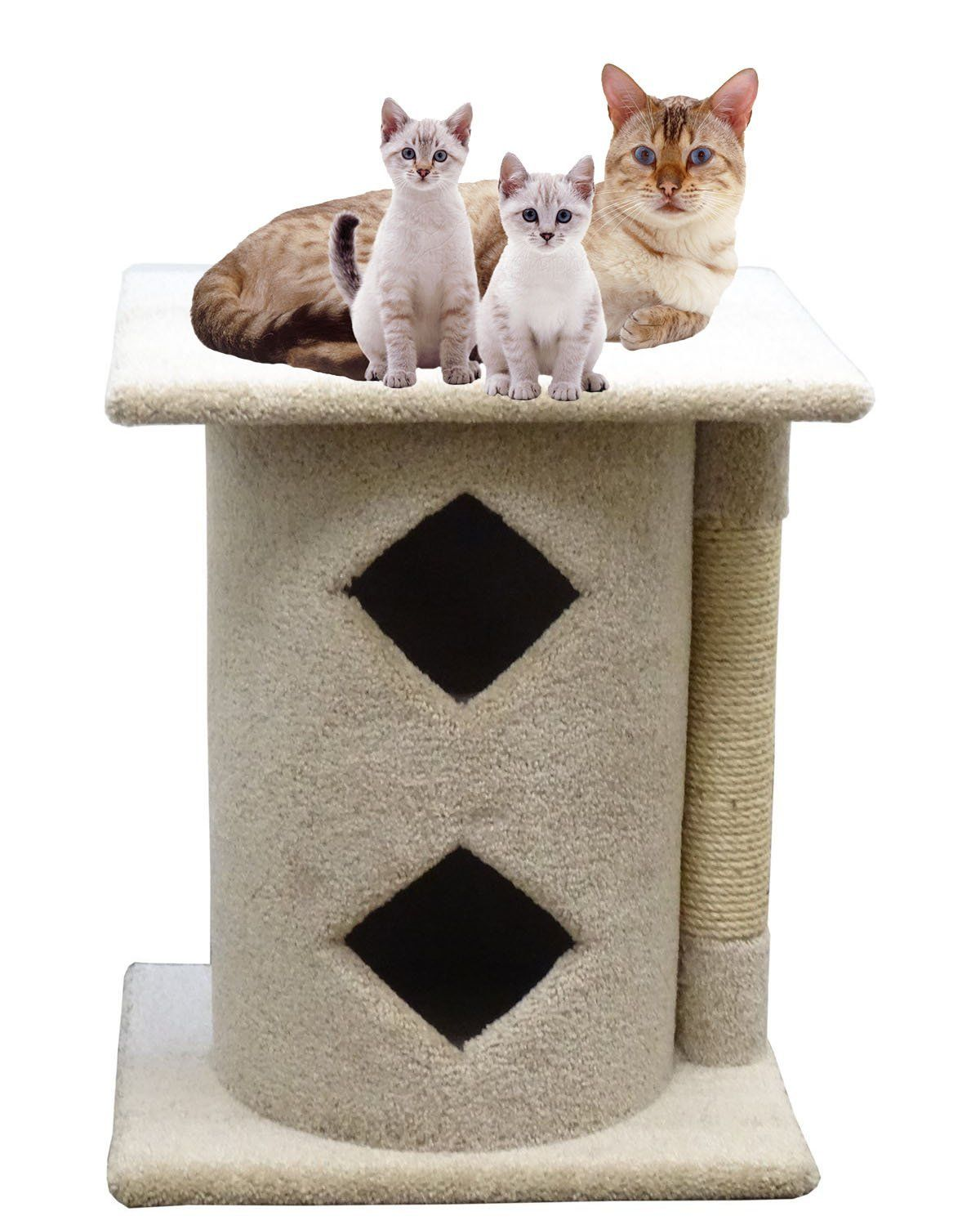 Carpet Cat Condo Two Story Wood Cat Condos With Rope Beige Carpet Check Out The Image By Visiting The Link This Is An Wood Cat Cat Bed Cat Bed Furniture