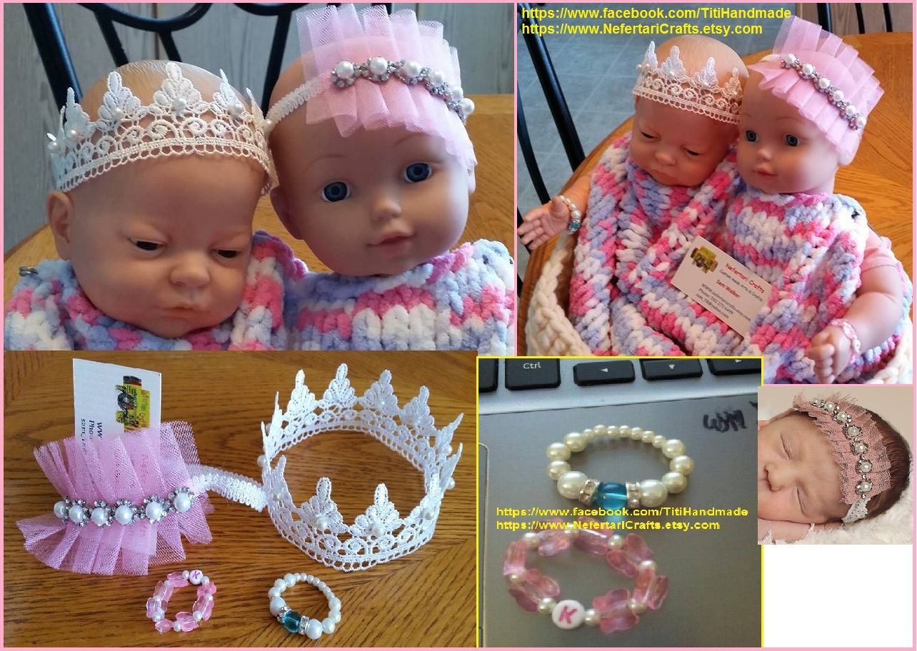 Crowns and bracelets Custom colors and sizes, no glue, all hand sewn and handcrafted by Sam  The bracelets can be made with baby initials or the Birth stones/crystals .. just whatever you like for your baby photo-props  https://www.facebook.com/TitiHandmade/photos/a.1421762398066268.1073741827.1421725998069908/1587134848195688/?type=1&theater