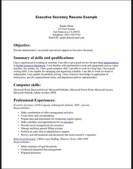 Executive Secretary Resume Example -    topresumeinfo - interior design resume objective examples