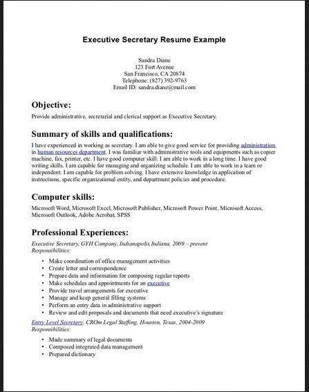 Executive Secretary Resume Example Latest Resume Format Resume Examples Cover Letter For Resume Sample Resume Cover Letter