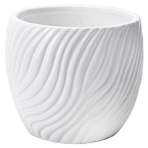 45 Inch White Ceramic Textured Swirl Design Flower Planter 400 x 300