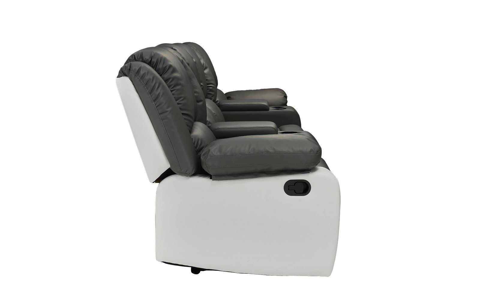 4 Seat Large Classic Recliner Sofa With Cup Holders Home Theater Recliner  Couch Grey / White