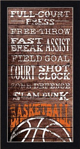 Basketball by Susan Ball Boys Room Décor Sign Framed Art Print ...