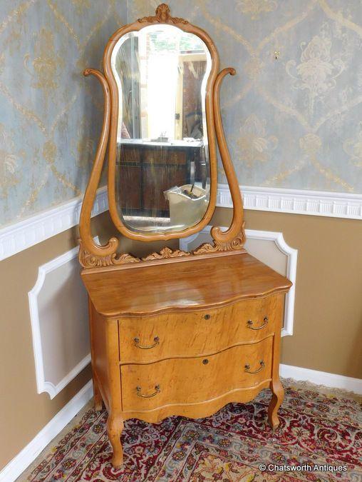 Antique Victorian Birds-Eye Maple 2 Drawer Princess Dresser w/ Mirror c1900 #CountryVictorian