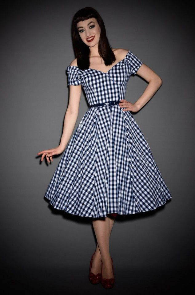 Fatale 50\'s style Prom Dress in navy & white oversized gingham by ...