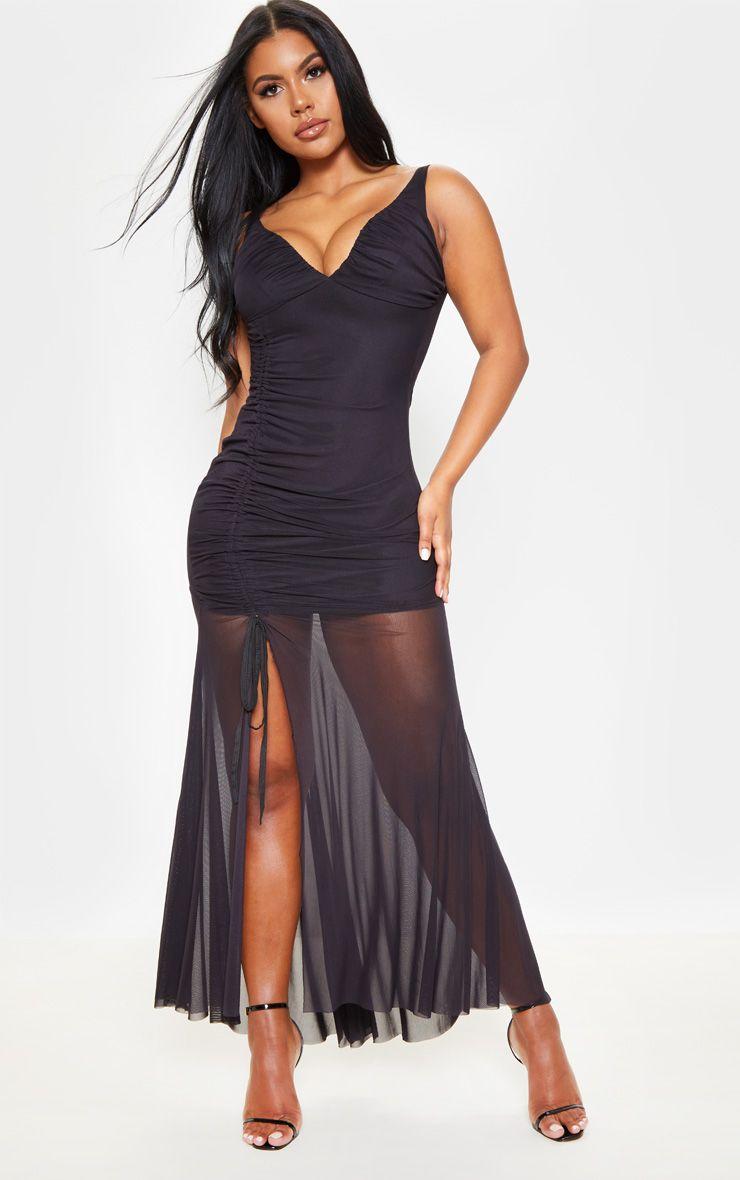Black mesh ruched cup detail maxi dress maxi dress