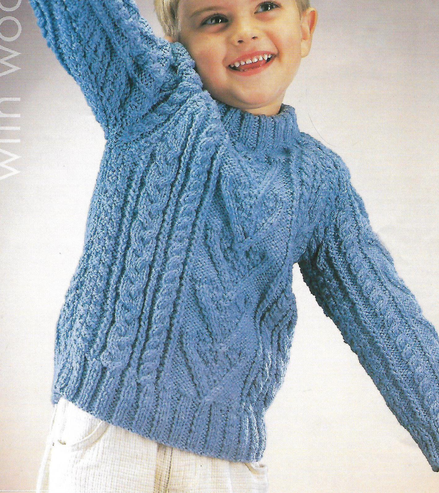 Knitting pattern, boy's cable aran knit jumper, sweater ...