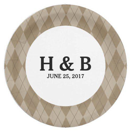 Mocha Argyle Wedding Paper Plates