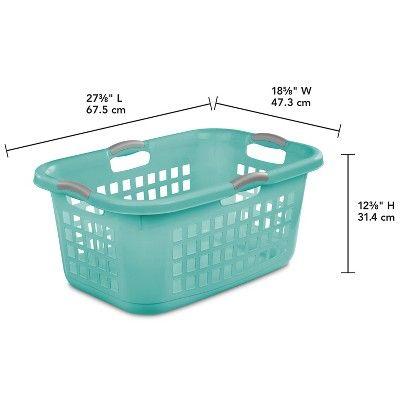 2 Bushel Laundry Basket Aqua With Gray Handles Room