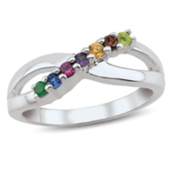 Zales Mothers Birthstone Split Shank Ring in Sterling Silver (3-5 Stones) jVxwFS6M2