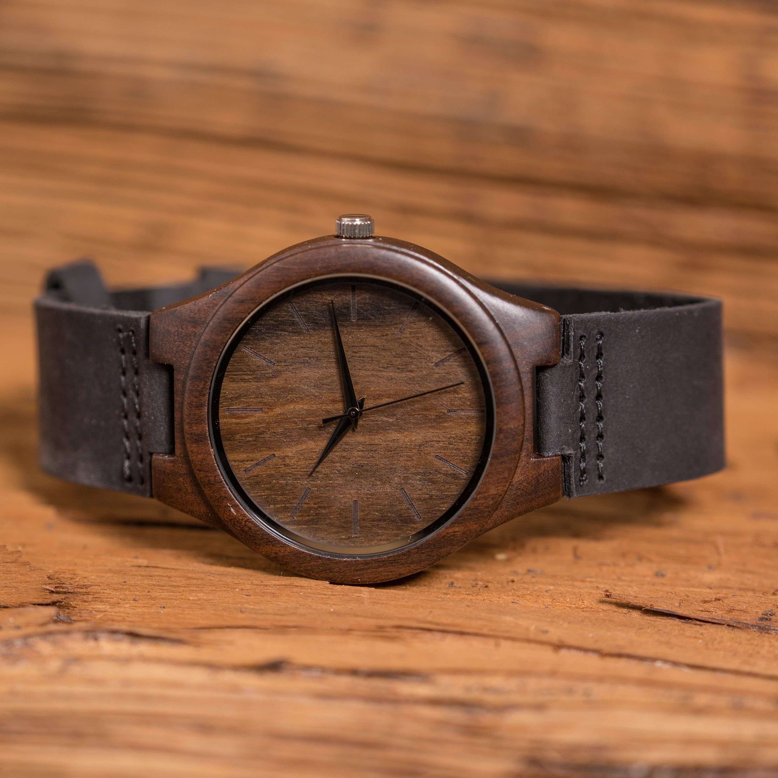 Wood Watch Genuine Leather Personalized, Gifts for Him