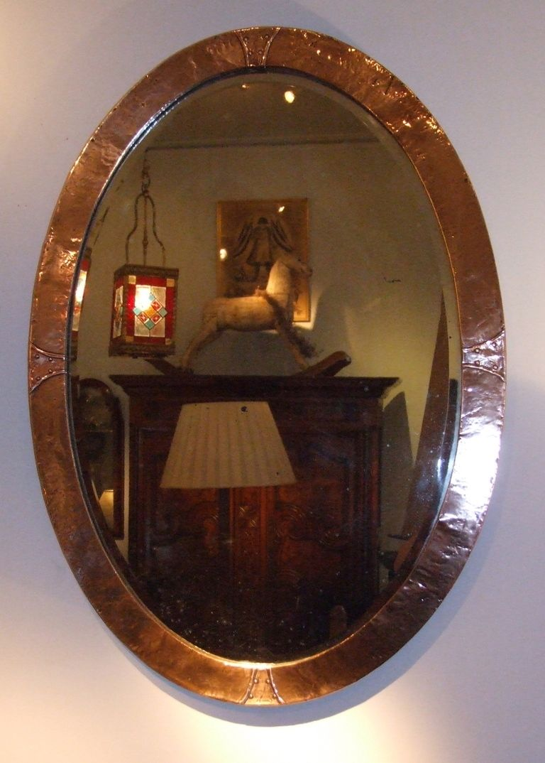 Small Antique Beveled Glass Mirror Copper Wire