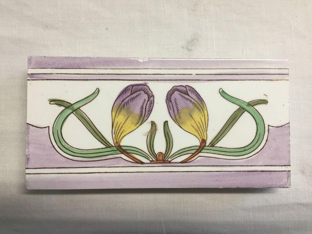 Kachel fliese  Details zu Jugendstil Fliese Kachel Antik 14,6 x 7,2 cm ...