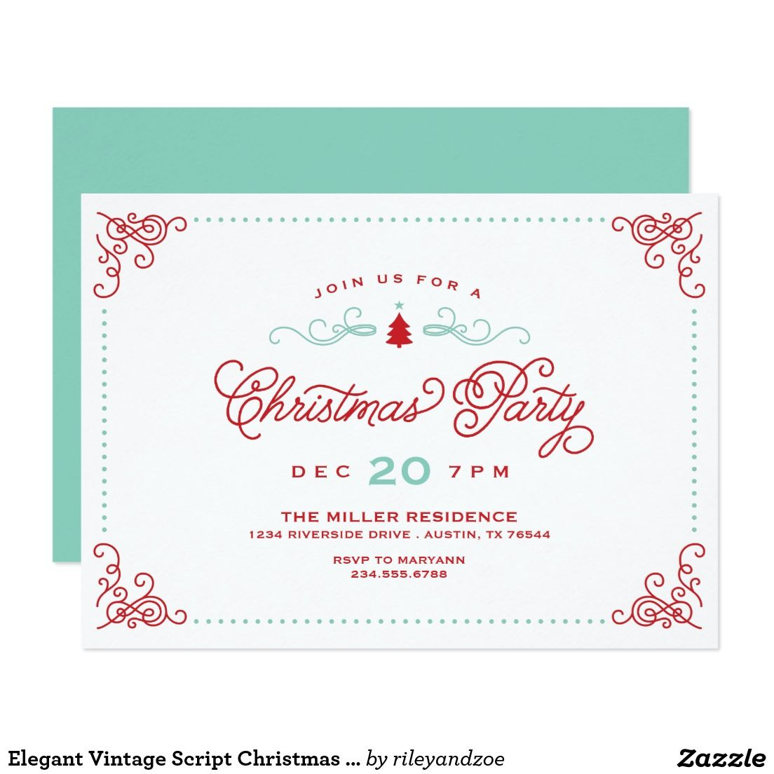 Elegant Vintage Script Christmas Party Card | Christmas Party ...