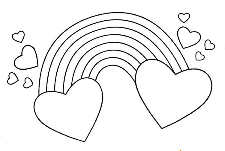 Rainbow Hearts Coloring Pages Heart Coloring Pages Coloring Pages Rainbow Drawing