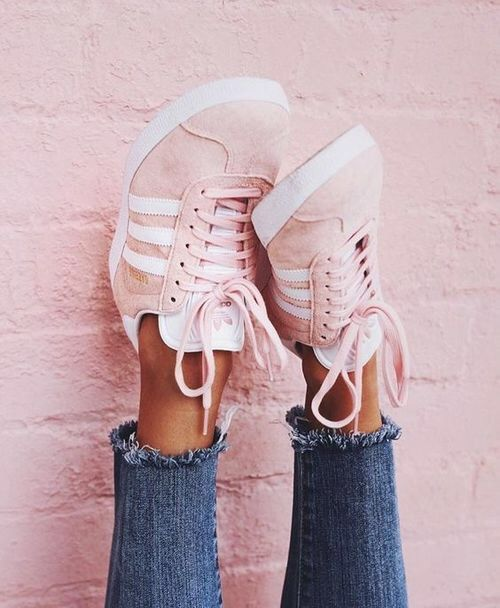 c48b6dd22ab pinterest: @wifi0n ✿ Adidas Pink Sneakers, Blush Pink Sneakers, Addidas  Shoes