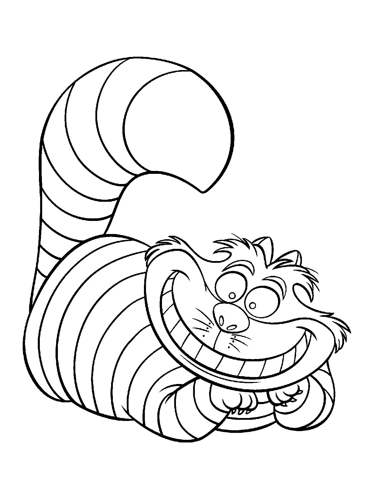 Disney coloring pages, Alice in wonderland party, Cat coloring page