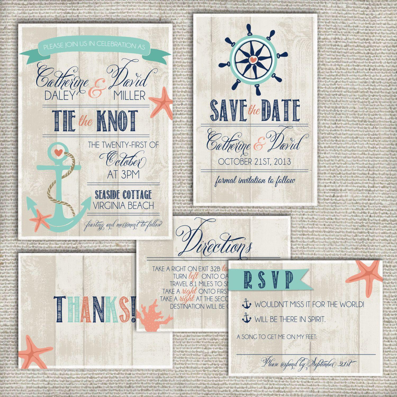 Beach Wedding Invitation Set DEPOSIT, Nautical, Boho, Anchor, Rustic ...
