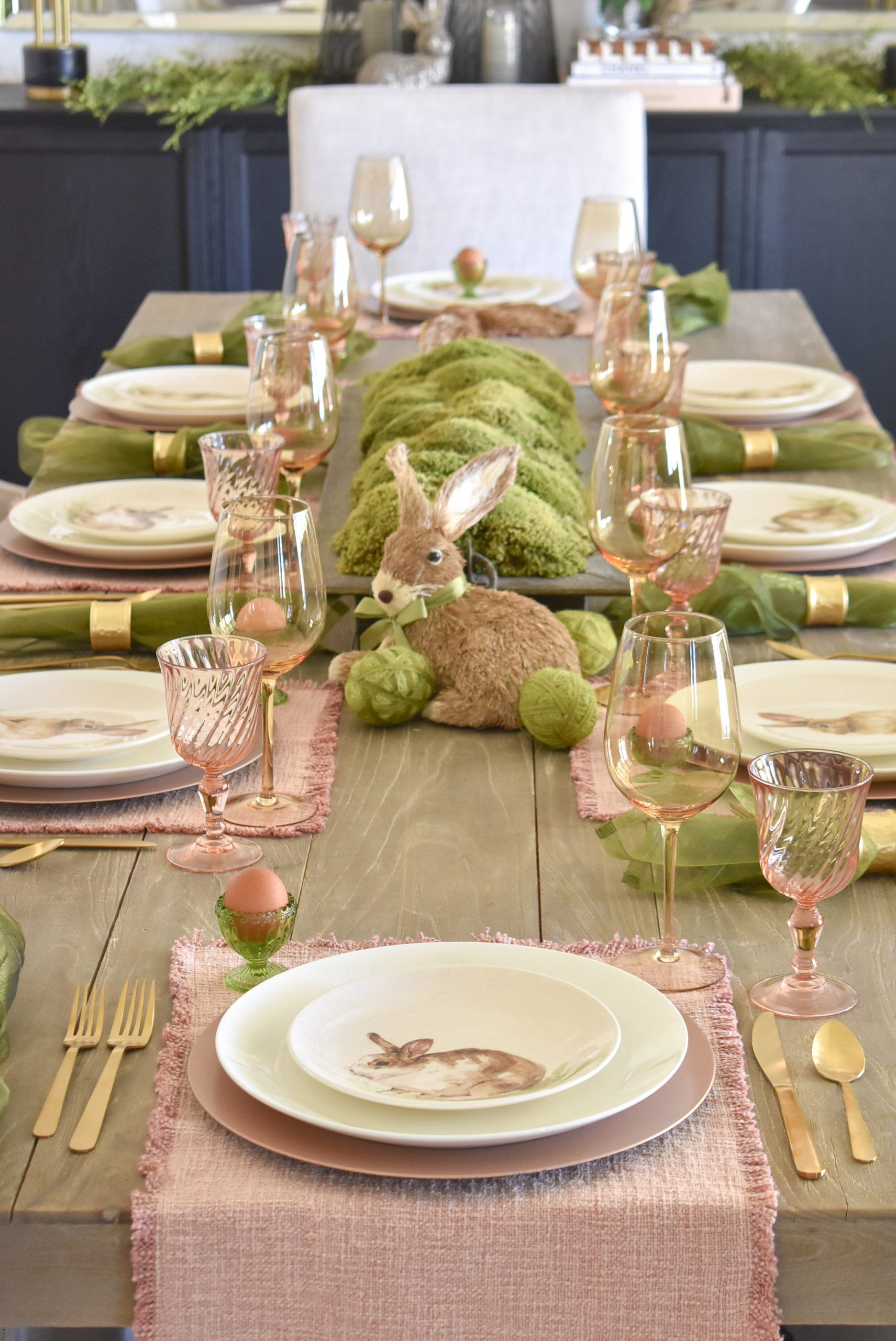 Blush Pink and Green Easter Tablescape