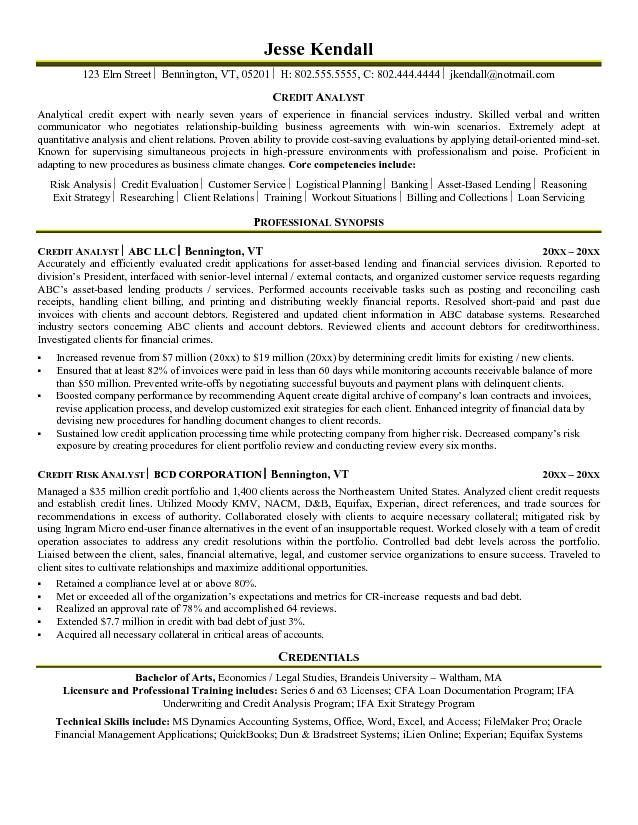 credit analyst resume example Resume Pinterest Sample resume