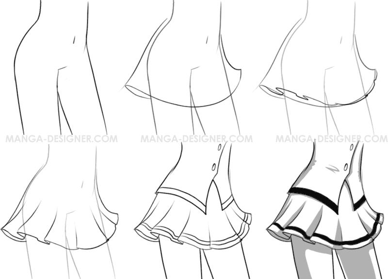dessin manga jupe