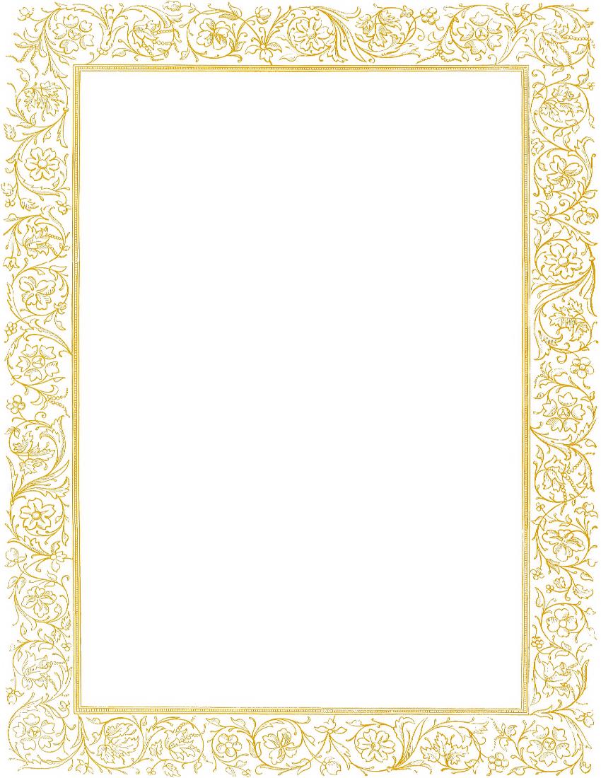 Victorian Floral Border Gold Clipart