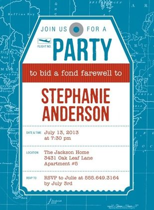 Fond Farewell - Party Invitations in Luxe Turquoise or Smoke - farewell invitations templates