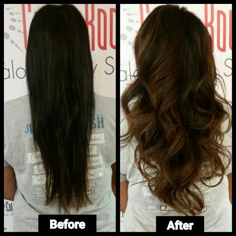 Before And After Bayalage I Did Today At The Color Room Salon And Day Spa Haircut Womenscuts Beautiful Curls Soft Black Bro Hair Color Hair Beauty Hair