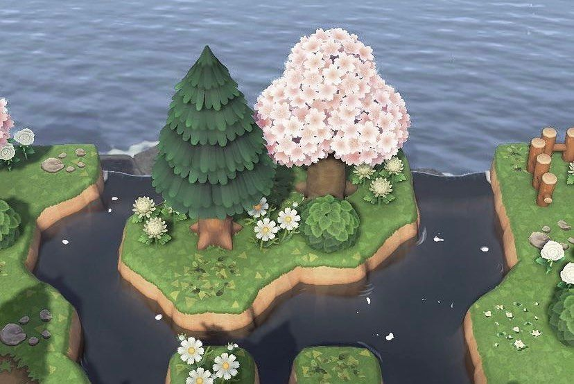 Animal Crossing Designs On Instagram Small Area Inspiration For The Back And Sides Of Your Island T In 2021 Animal Crossing Animal Crossing Game New Animal Crossing