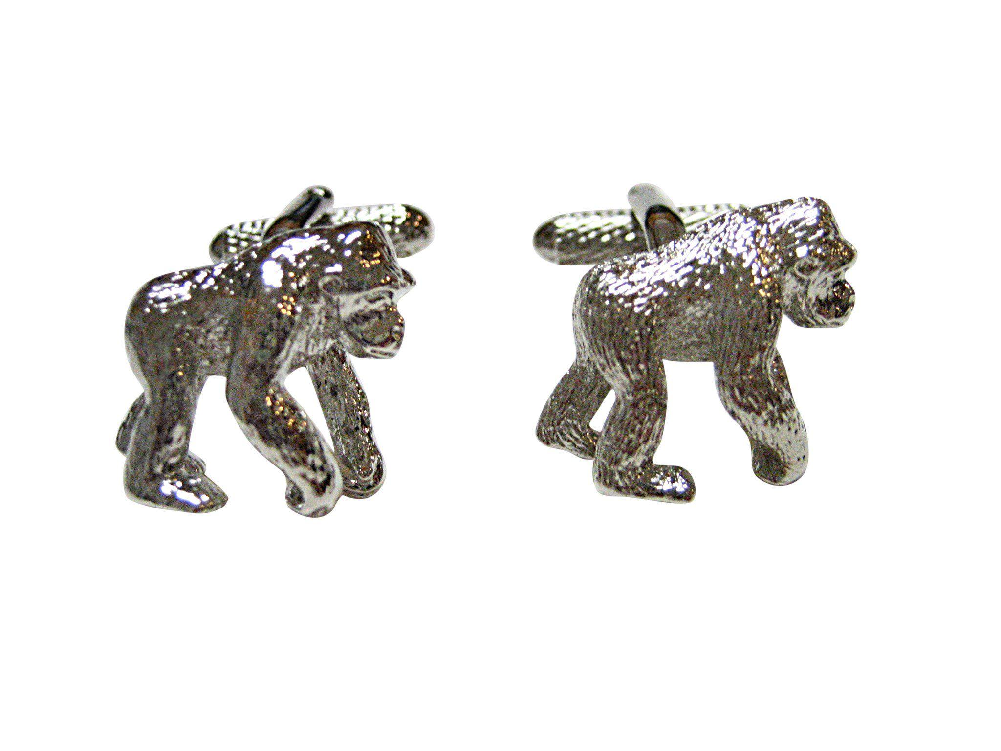 Silver Toned Gorilla Cufflinks