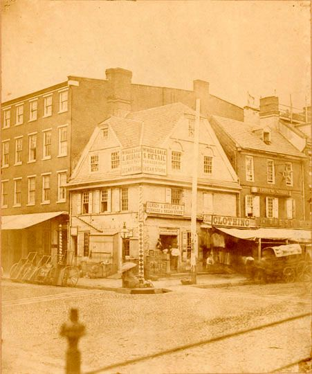 London Coffee House, Front Street at MarketThe London Coffee House was originally built in 1702 on property obtained by its owner, Charles Reed, from Letitia Penn. It remained standing until 1883, and during its long and colorful history changed hands many times and housed businesses other than that for which it was originally intended. G. and A. Ulrich, whose family had owned the coffee house since 1813, were its final occupants. 1854