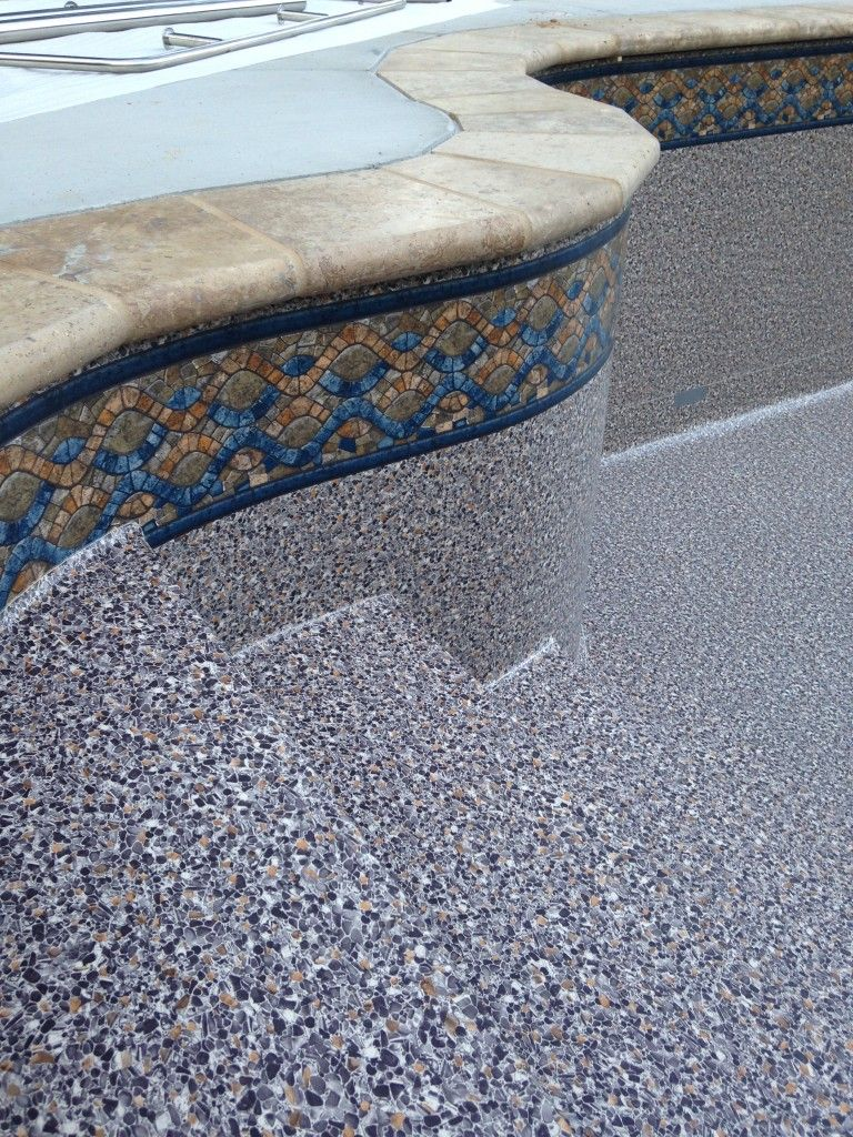 Sandstone vinyl pool liner with travertine coping pool for Inground pool coping paint