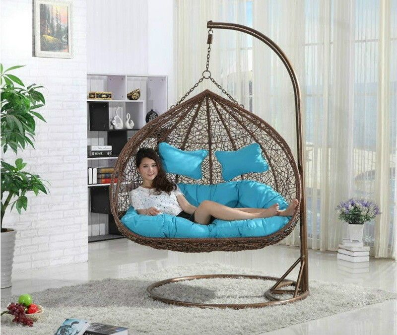 Hanging Rattan Double Swing Chair With Cushion Stand Rattan Swing Loveseat Home Garden Yard Swinging Chair Hanging Hammock Chair Hanging Swing Chair