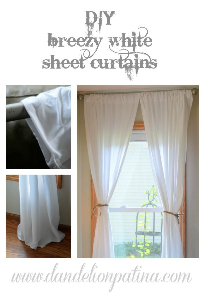 Diy Simple White Sheet Curtains With Images Sheet Curtains