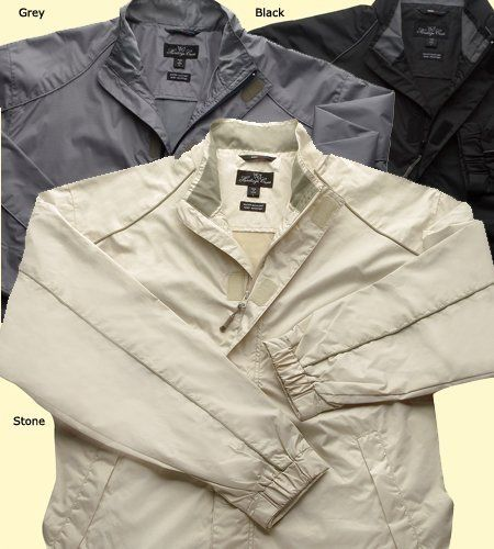 Mens Heritage Cross 8006 Water Repellant Golf Jacket Heritage. $29.99. Cell phone pocket. Wash Cold with like colors, no bleach, hang dry or tumble on FLUFF. 100% polyester mini dobby soft shell fabric. Adjustable Velcro cuff. polyester. Stylish hidden placket. Water Repellant