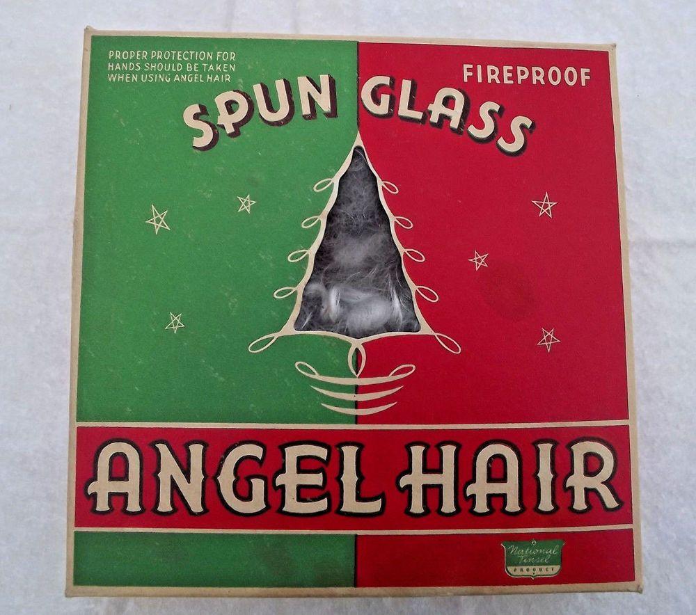 Vintage Christmas Angel Hair Curly Spun Glass National Tinsel ...