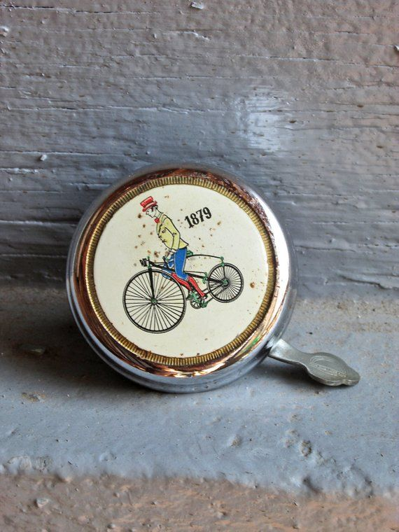 Vintage Bicycle Bell Made In Germany Man Riding Antique Bike