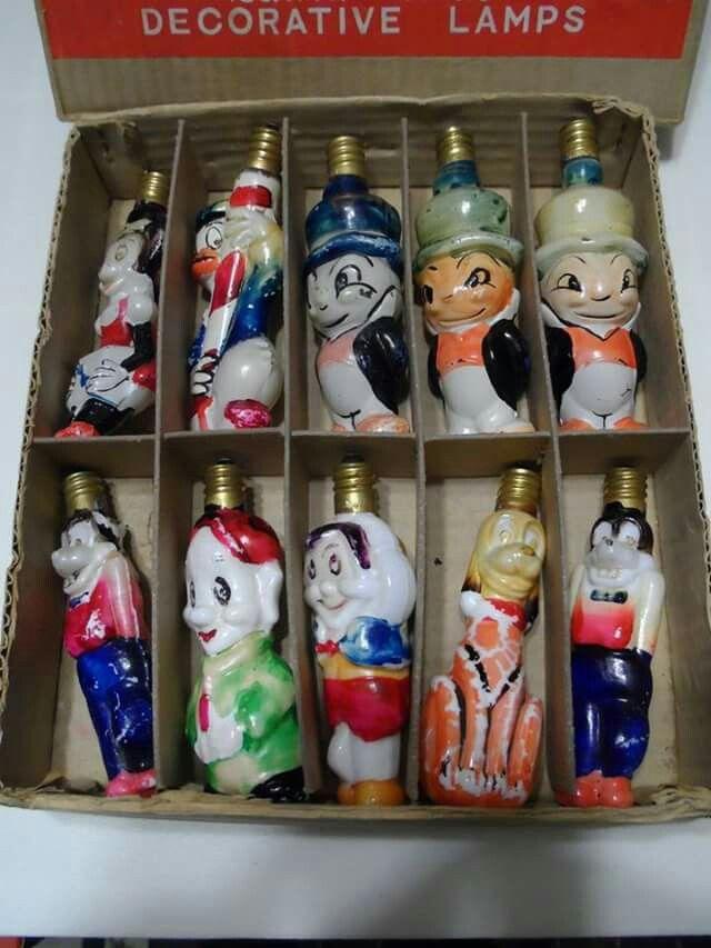 Vintage Disney Christmas Light Bulbs... Minnie Mouse, Donald Duck ...