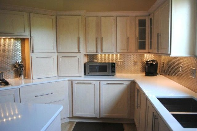 Wonderful Champagne Stain Maple Cabinets Silestone Quartz In White From White Stained  Cabinet Kitchen