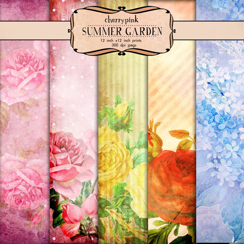 "Digital Scrapbooking Papers, 12 x 12 scrapbook papers, ""Summer Garden"" textured digital download papers for scrapbooking."