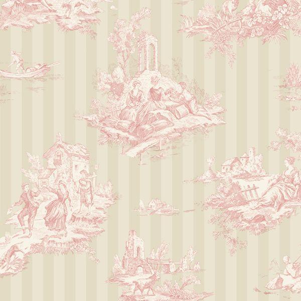 papier peint toile de jouy provence fils tl63501 papier. Black Bedroom Furniture Sets. Home Design Ideas