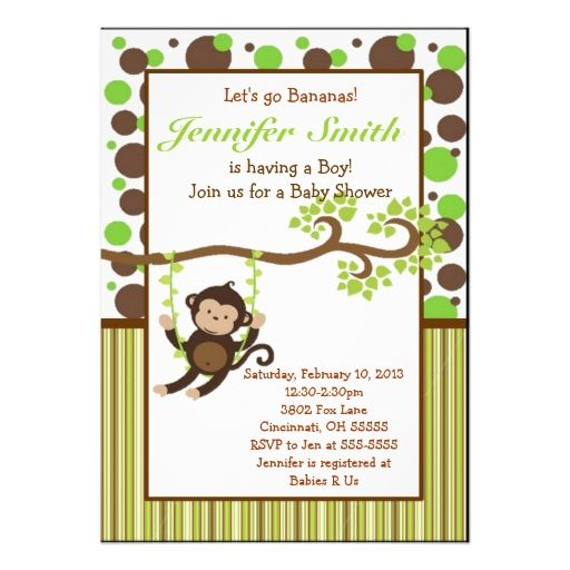 Invitaciones Para Baby Shower De Nino Marron Y Verde Google Search Monkey Baby Shower Invitations Monkey Baby Shower Jungle Baby Shower Invites