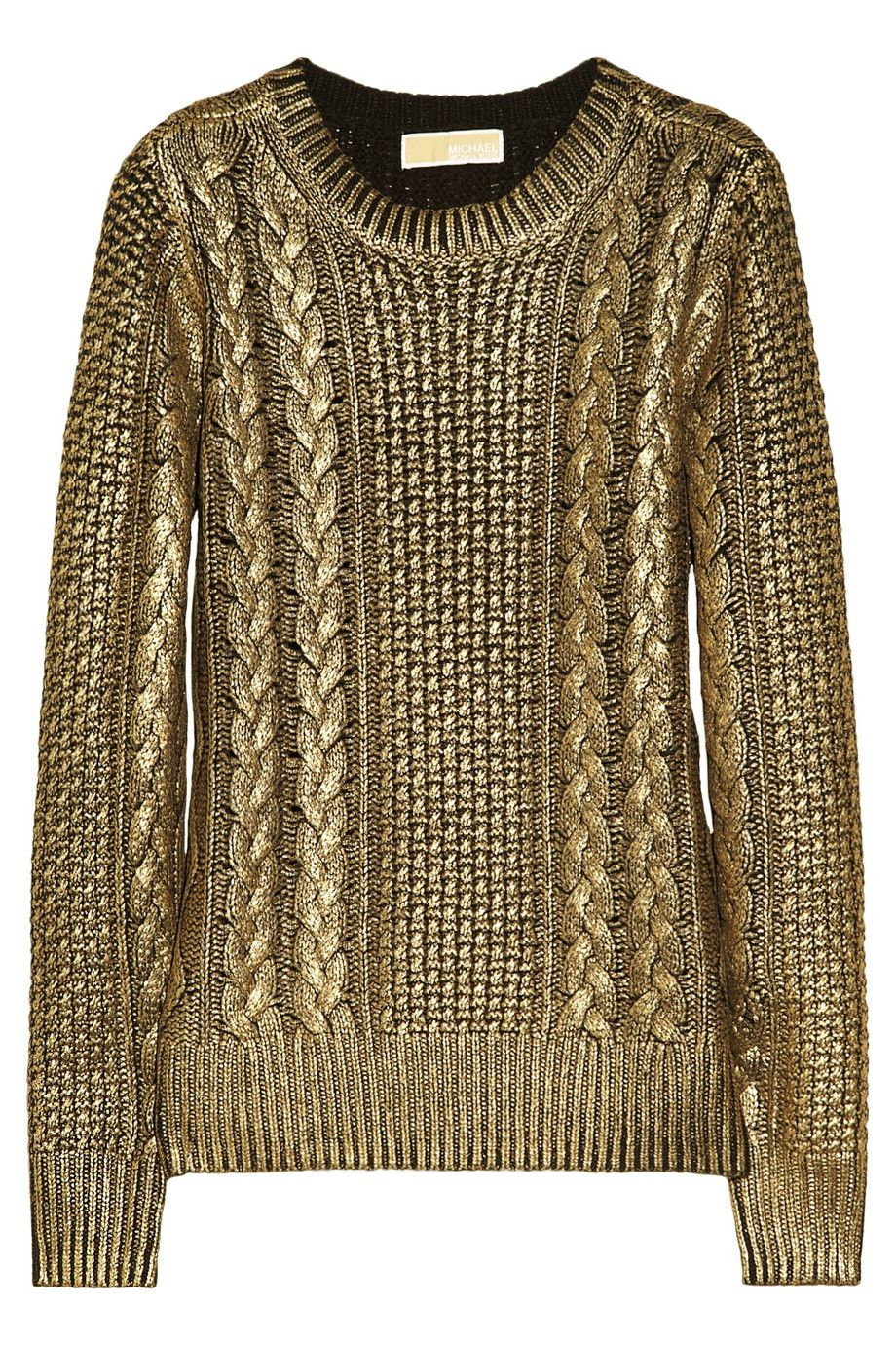 Michael Michael Kors Metalliccoated Cableknit Sweater in Gold ...
