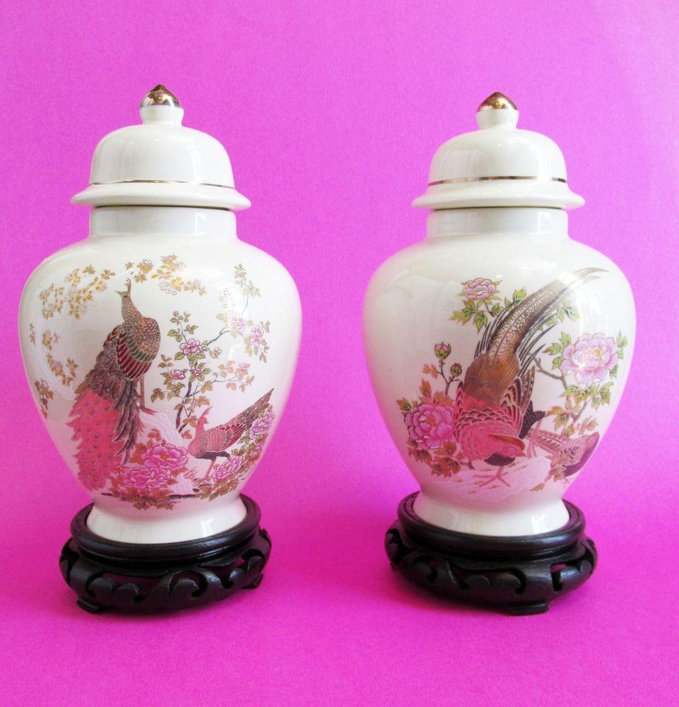 Vtg 1990s japanese satsuma porcelain inspired pair 2 vase urn vtg 1990s japanese satsuma porcelain inspired pair 2 vase urn pheasant peacock reviewsmspy
