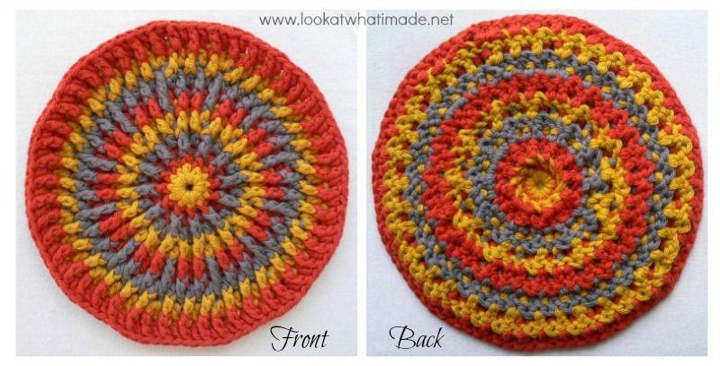 Round Crochet Potholder Trivet Mandala | lavori uncinetto ...