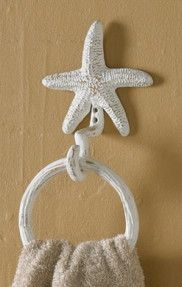 Charming Tropical Beach Themed Iron Starfish Bathroom Accessories Towel Bar Hook  Ring Toilet Tissue Holder